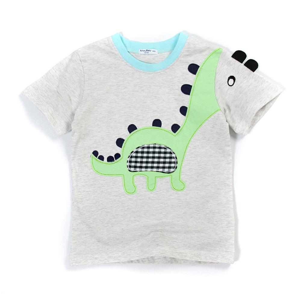 歐美風格設計 小童中童男童短棉T居家外出 可愛小恐龍 灰色