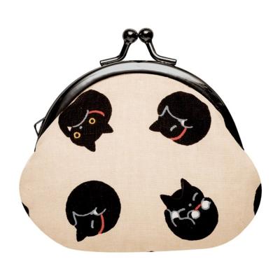 小襪貓貓咪黑圓點系列棉布珠扣零錢包。米