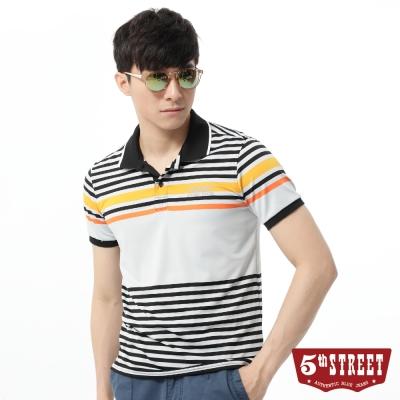 5th-STREET-POLO衫-設計條紋配色POLO衫-男-黑色