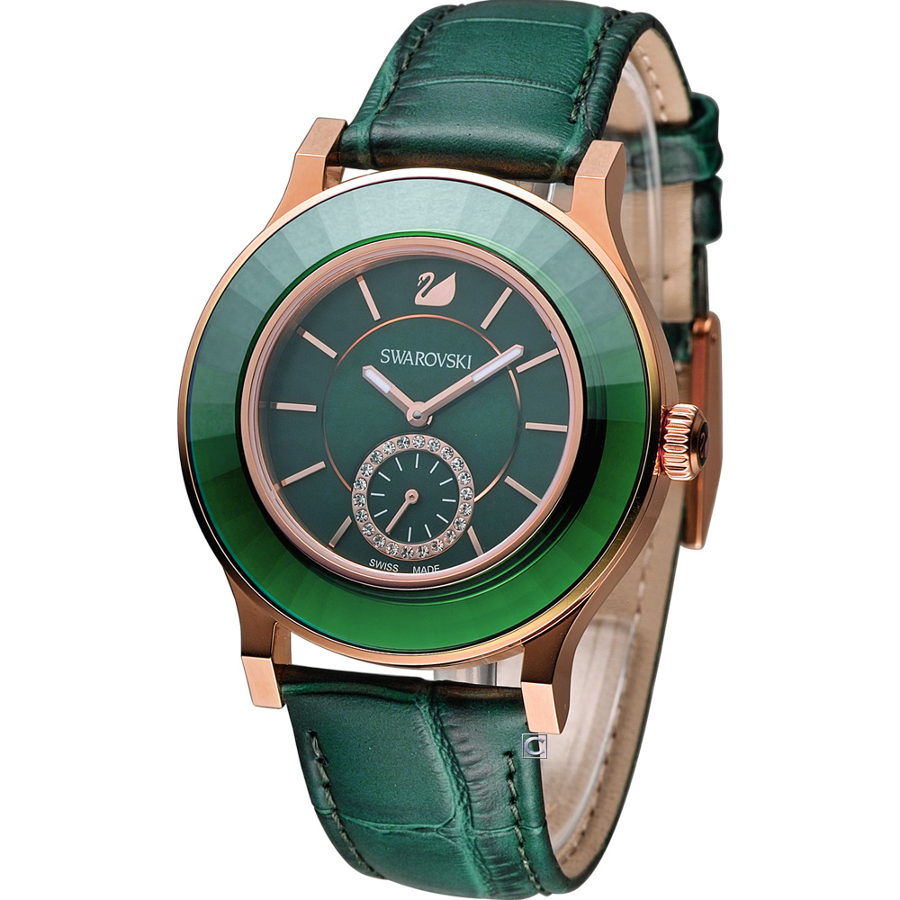 SWAROVSKI Octea Classica 經典優雅時尚小秒針腕錶-綠/39mm