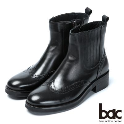 bac英倫學院 率性風格真皮短靴-黑色