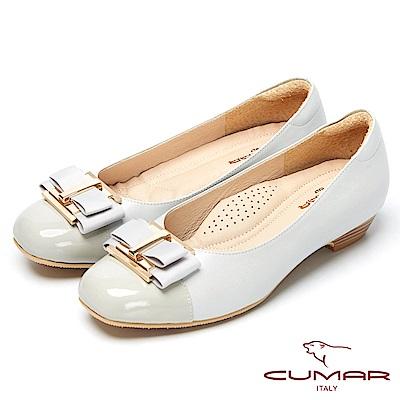 CUMAR粉領時尚-嚴選舒適真皮低跟包鞋-銀灰色