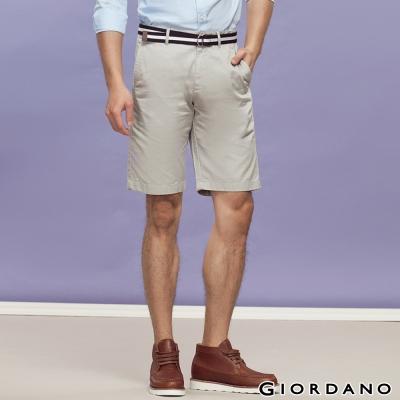 GIORDANO-男裝簡約休閒五分褲-附帆布腰帶