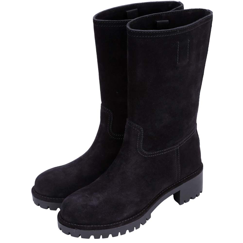 PRADA 麂皮車線設計中筒靴(黑色)
