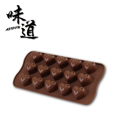 味道 耐熱矽膠巧克力模/冰模-愛心型