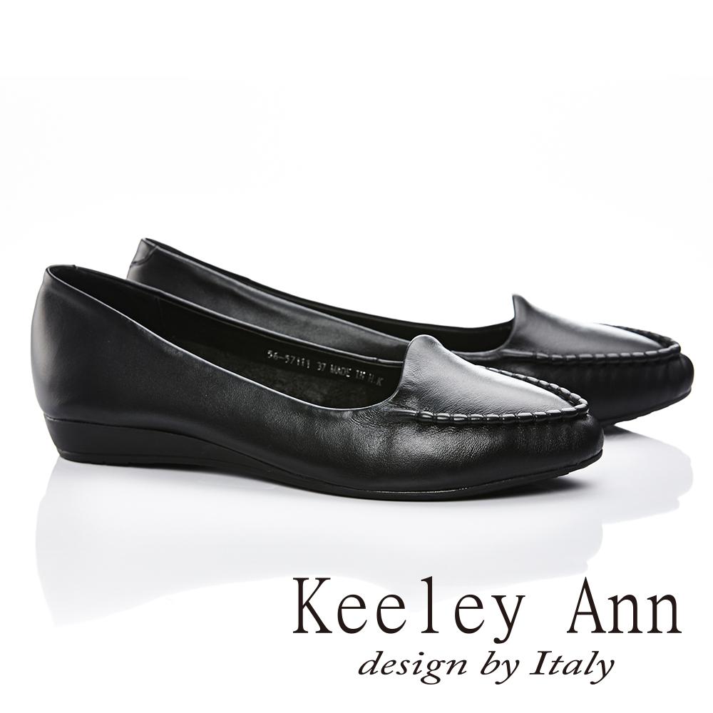 Keeley Ann輕熟簡單真皮質感素色低跟平底鞋(黑色-Ann系列)