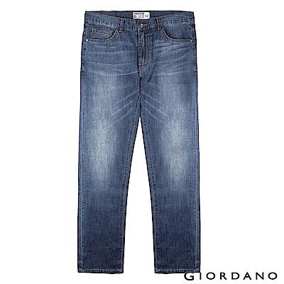 GIORDANO 男裝修身低腰窄管褲-82 中藍