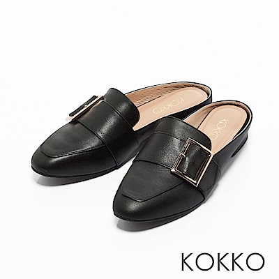 KOKKO -法式質感真皮方扣平底穆勒鞋-新貴黑