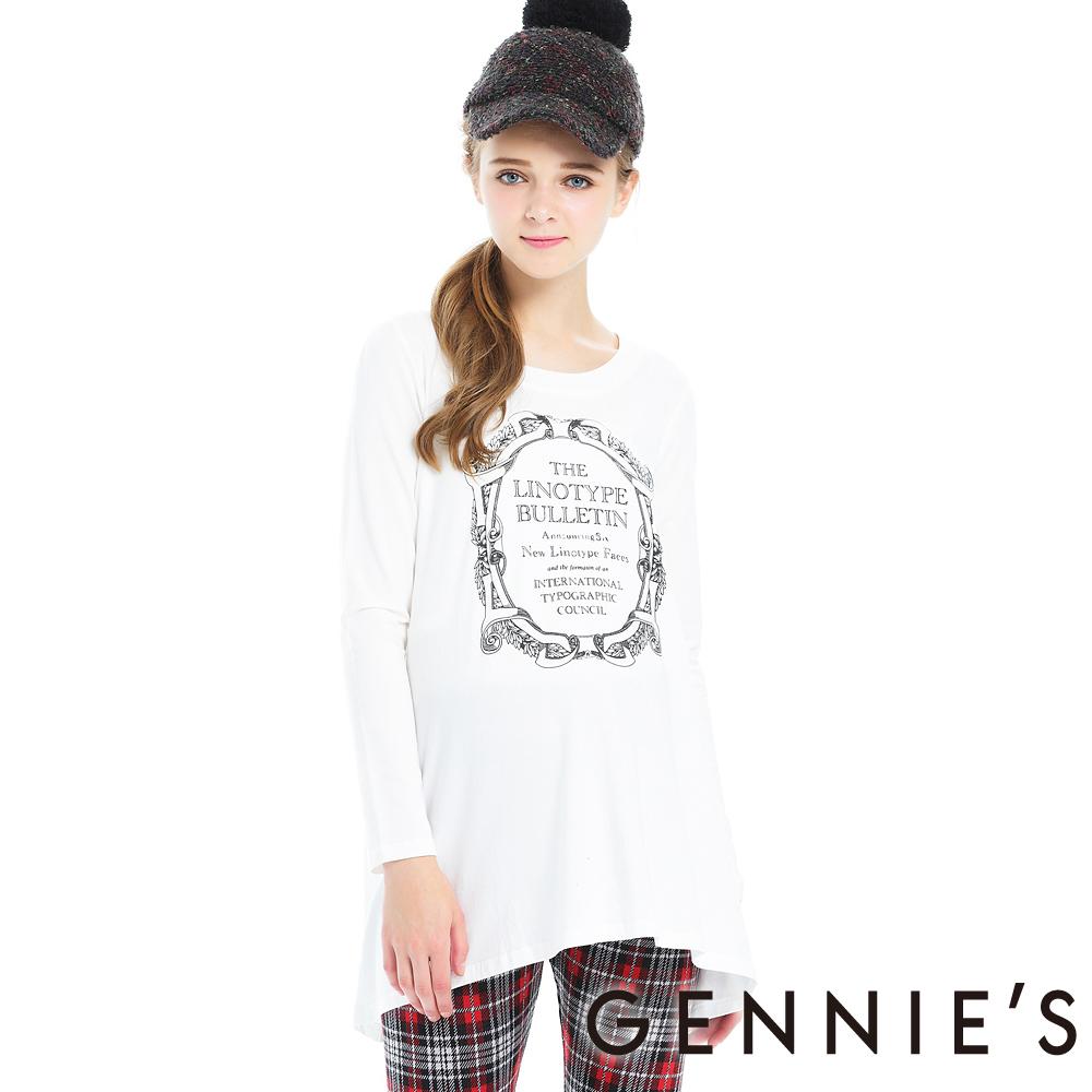 Gennies奇妮-圖印棉質感不規則傘狀秋冬長版上衣(T3A12)-白