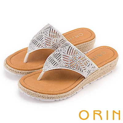 ORIN 魅力新時尚 線條簍空燙鑽夾腳麻邊厚底拖鞋-白色