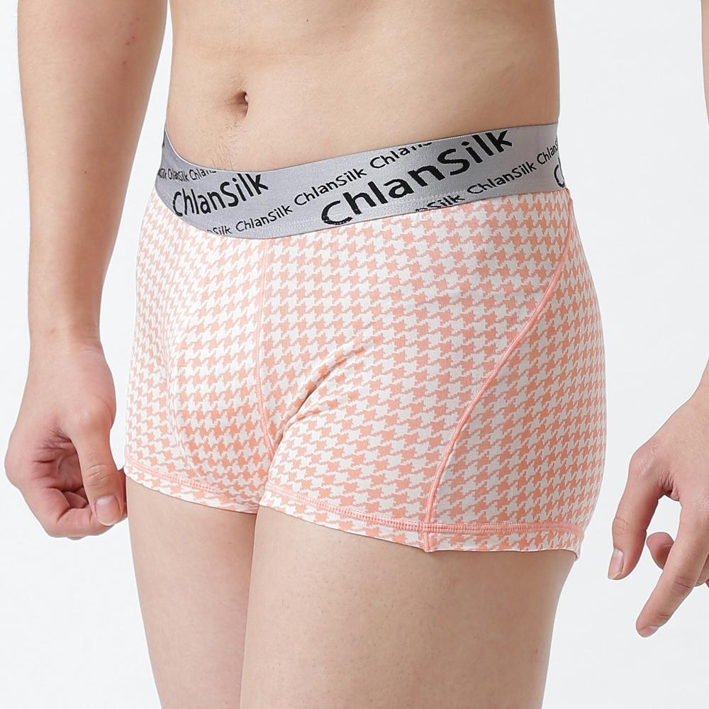 男內褲 舒適系列100%蠶絲合身四角內褲 (千鳥橘) Chlansilk 闕蘭絹