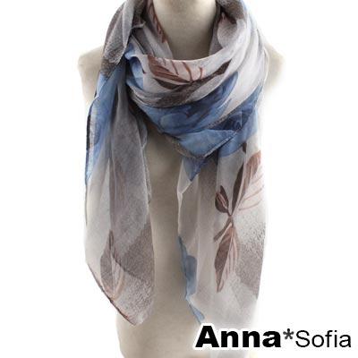 AnnaSofia 瑰花絮映 巴黎紗披肩圍巾(藍灰系)