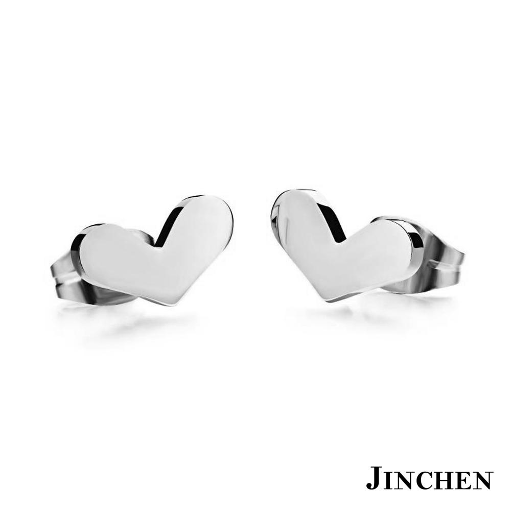 JINCHEN 白鋼愛心耳環 銀色