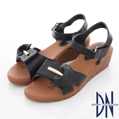 DN-真皮手工-花瓣造型牛皮繫踝楔型涼鞋-黑