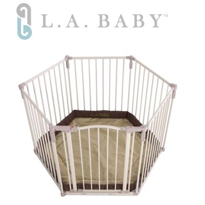 【美國 L.A. Baby】 多功能兒童安全圍欄(軟墊卡其色/咖啡色)