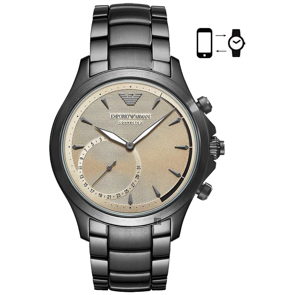 Emporio Armani Connected Hybrid 指針智慧錶-咖啡金x銀