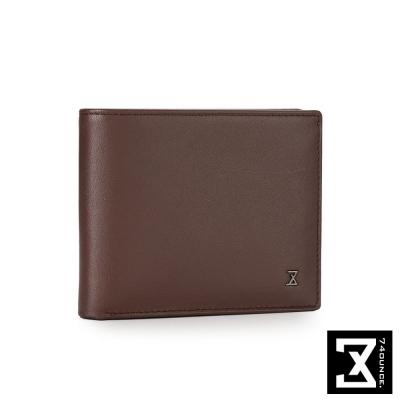 74盎司 Plain 系列平紋真皮短夾[N-465]咖啡