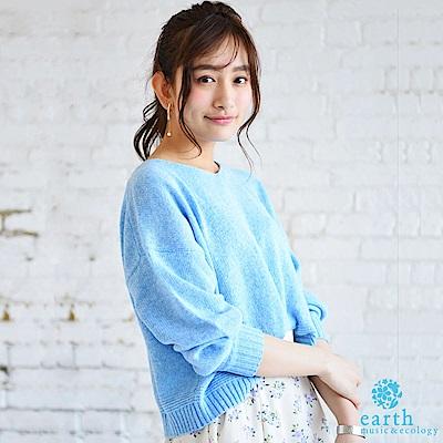 earth music 氣球袖寬鬆版型素面短版針織衫