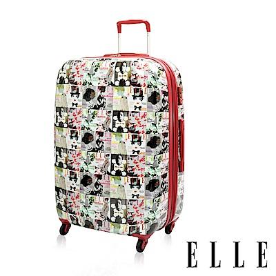 福利品 ELLE 法式雜誌29吋純PC材質 防盜/防爆行李箱/登機箱-紅色