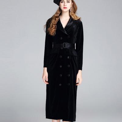 a la mode 艾拉摩兒 西裝領雙排扣金絲絨包臀洋裝(二色S-XL)