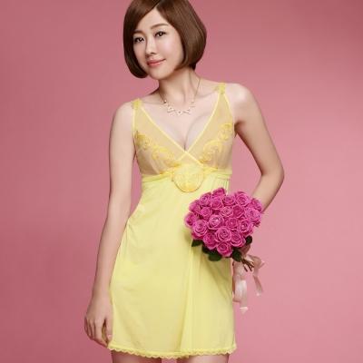推Audrey-歡沁巴黎 居家型細帶洋裝(粉嫩黃)