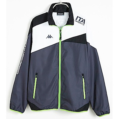 KAPPA義大利時尚中性TEFLON高透濕慢跑風衣(網布內裡)外套 深灰 白 黑