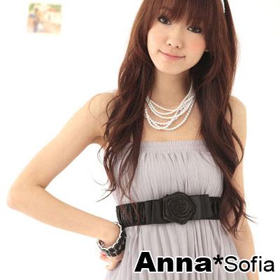 AnnaSofia-戀綻玫瑰-抓皺緞彈性腰帶腰封