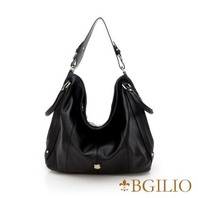 義大利BGilio-時尚都會牛皮側背包-黑色 887.001A-05
