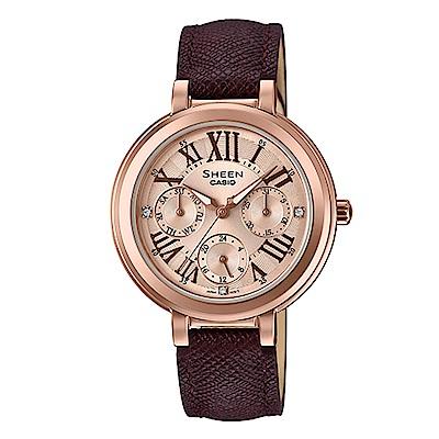 SHEEN羅馬數字魅力棕色優雅風格皮帶腕錶(SHE-3034GL-7A2)32mm