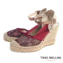 Tino Bellini 西班牙進口渡假風情繫踝麻底楔型鞋_紅