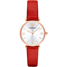 Emporio Armani Retro 羅馬風情時尚腕錶-銀白x玫瑰金框/32mm