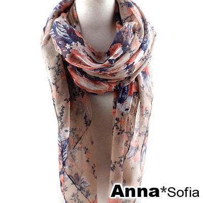 AnnaSofia 櫻漫朵漾 巴黎紗披肩圍巾(卡其底)