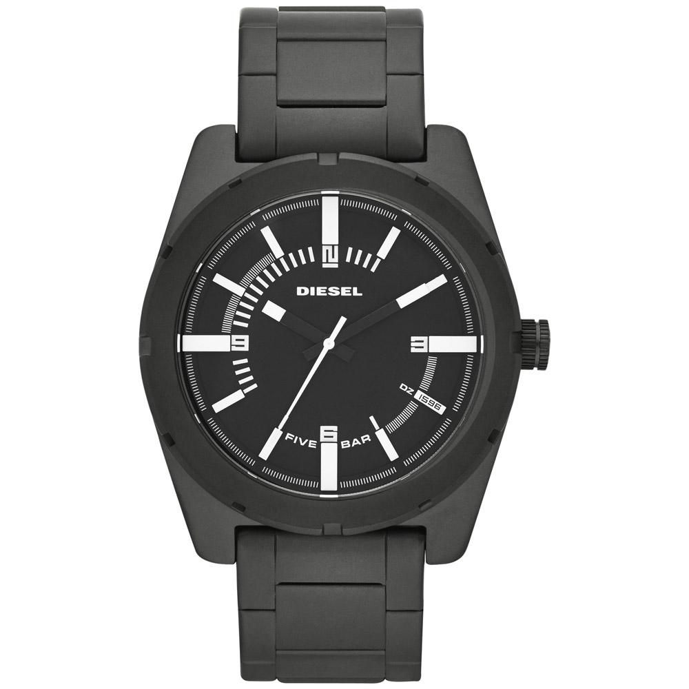DIESEL 鐵血男兒個性休閒腕錶-黑/44mm