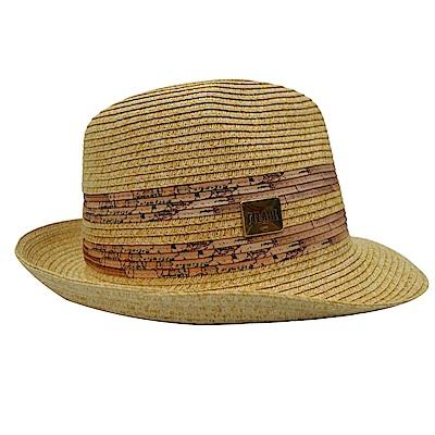 Alviero Martini地圖 時尚草帽-咖啡