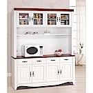 H&D 烤白5.3尺碗盤櫃組 (寬159.5X深40.5X高199.5cm)