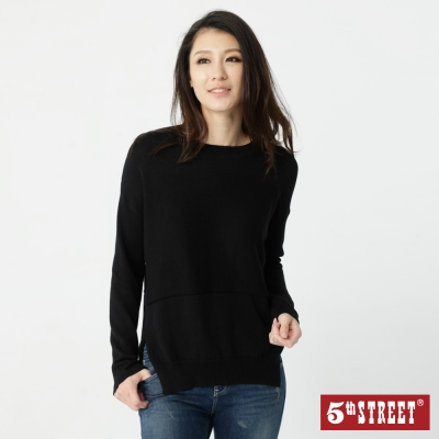 5th STREET 簡約開衩造型線衫-女-黑色