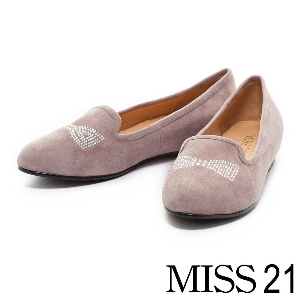 MISS 21 羊麂皮蝴蝶水鑽內增高樂福鞋-紫