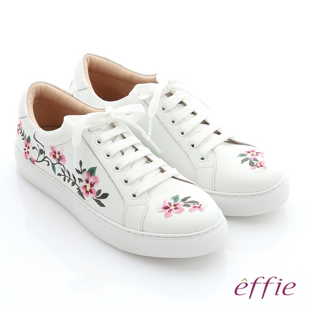 effie 輕量抗震 牛皮精緻刺繡休閒鞋 白色