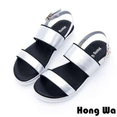 Hong Wa - 未來感漆皮釦環涼拖鞋 - 銀
