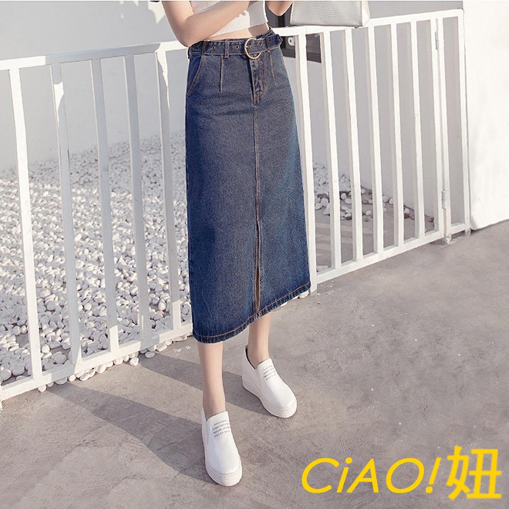 腰帶設計開衩牛仔裙 (共二色)-CIAO妞