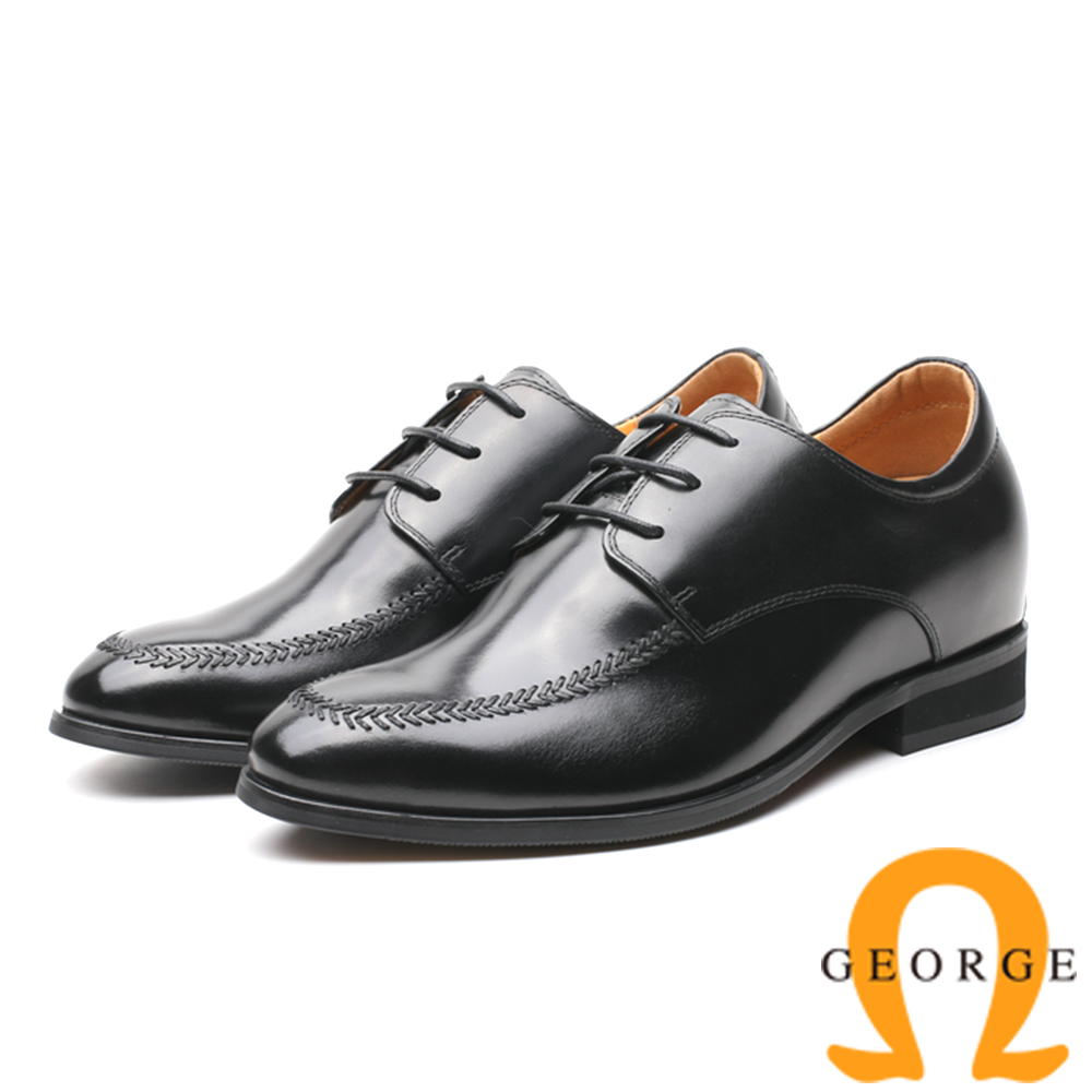 GEORGE 喬治-內增高系列 素面綁帶皮革紳士鞋 男鞋-黑