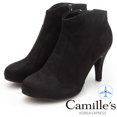 Camille's 韓國空運-正韓製-麂絨素面拉鍊高跟踝靴-黑色