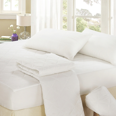 精靈工廠-北歐風純白加大床包式保潔墊