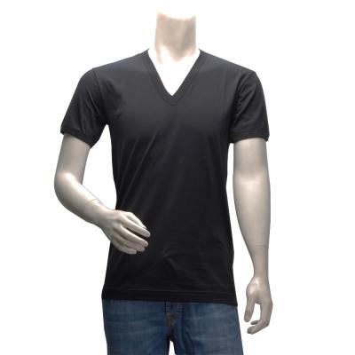 DOLCE&GABBANA 簡約純色短袖V領T恤(黑)