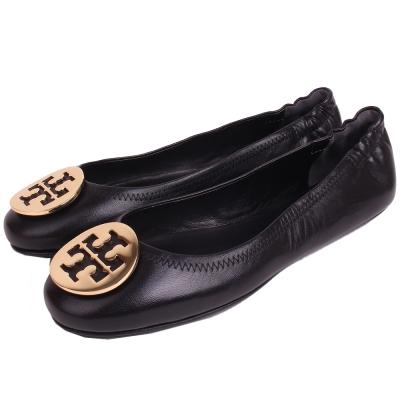 TORY BURCH 金屬盾牌飾折疊平底鞋(經典黑)