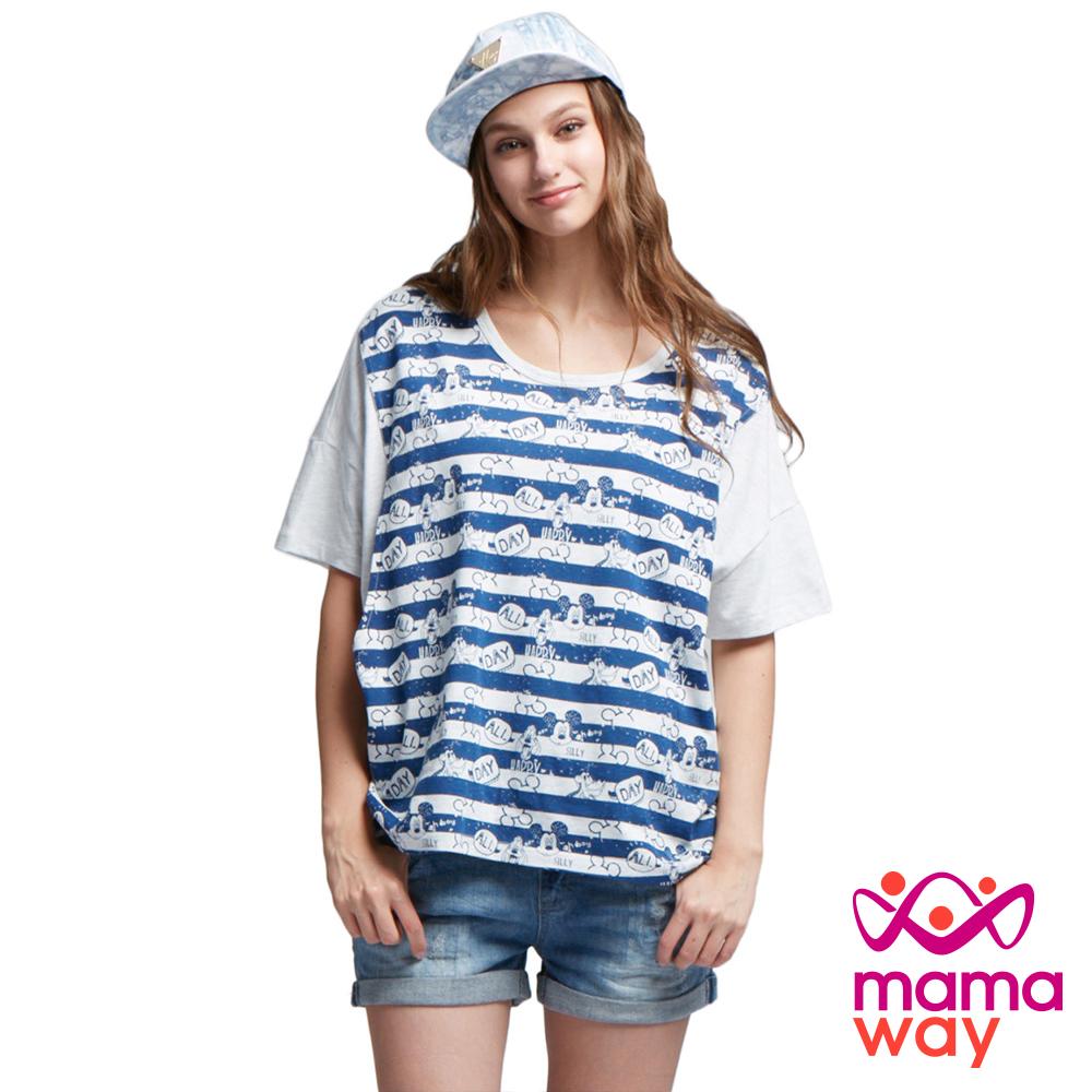 孕婦裝 哺乳衣 迪士尼米奇橫紋罩衫(共二色) Mamaway