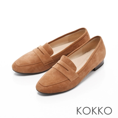 KOKKO-女紳暖意羊麂皮方頭樂福跟鞋-牛奶駝