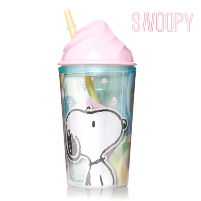 Snoopy 史努比馬卡龍冰淇淋吸管杯450ml