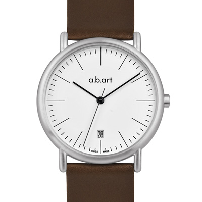a.b.art KLD系列 懷舊復古德式極簡腕錶-白/38mm