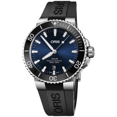 Oris豪利時 Aquis 時間之海潛水300米日期機械錶-藍x黑色膠帶/43.5mm